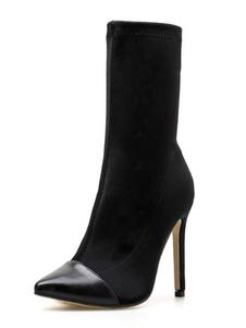 أسود جورب أحذية النساء واشار تو عالية الكعب تمتد الجوارب في الكاحل2020
