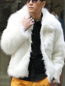 Homens casaco de pele do falso branco plus size casaco de inverno manga longa jaqueta de inverno curto