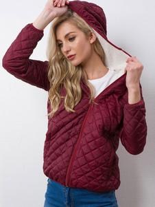 Abrigo acolchado con capucha y algodón con cremallera completa con bolsillos y capa acolchada con capucha