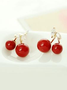 Pendientes de cereza Rockabilly Fruit Jewelry Rhinestones Stud Pendientes de regalo para ella