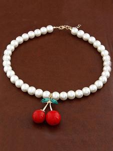 Collana di perle vintage con ciondolo in stile rockabilly e strass ciliegio