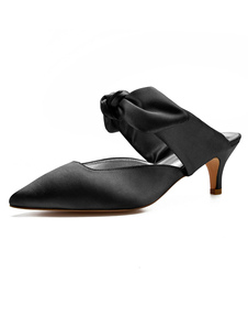 黒いミュールの靴サテンのつま先のつま先の弓の子猫のかかとのミュール女性のための