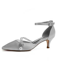 Zapatos de novia de seda y satén Zapatos de Fiesta plateado  Zapatos de puntera puntiaguada Zapatos de boda 6cm con perlas