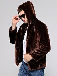 Teddy Coat Cappotto di pelliccia di faux degli uomini Cappotto di orsacchiotto con cappuccio Cappotto invernale di manica lunga con cerniera