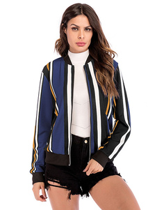 Полосатый женский куртка женщин Zip Up Хлопок с длинным рукавом Легкий куртка стадиона
