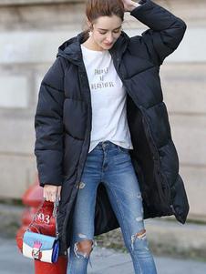 Abrigo de invierno con capucha negra Abrigo de invierno con capucha con cremallera de algodón Relleno