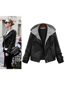 Com capuz jaqueta de motoqueiro de couro preto Como mais capuz de motoqueiro falso de duas peças