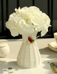 زهور الجدول زينة الزفاف الأبيض الحرير زهرية البلاستيك طاولة غرفة الطعام المركزية