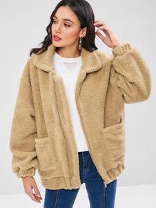 Mulheres Faux Fur Coat Teddy Bear Brasão Turndown Collar Light Tan Pockets Casaco de Inverno