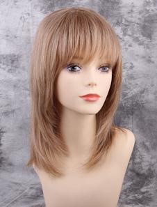 Perucas de cabelo castanho longo perucas de cabelo humano em linha reta com franja sem corte