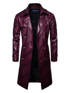 Hombre Gabardina 2020 Campos de Batalla de PlayerUnknown PUBG Abrigo Guisante de Pecho Doble Borgoña Casual Abrigo