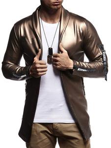 Мужская повседневная куртка шаль отворотом молнии декор тонкий Fit с длинным рукавом PU куртка