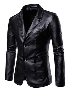 Мужчины вскользь Blazer Notch воротник карманные две кнопки PU кожаная куртка