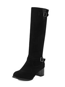 Suede Riding Boots Women Round Toe Buckle Detail Chunky Heel Knee Высокие сапоги