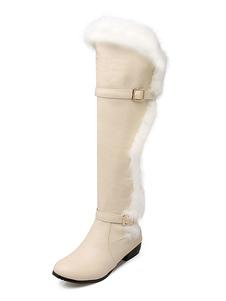 Botas hasta la rodilla de PU de puntera redonda color albaricoque  5.5cm de tacón gordo de piel sintética Color liso Otoño Primavera