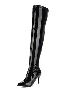 Mulheres Coxa Botas Altas Preto Dedo Apontado Patente PU Salto Alto Sobre As Botas Do Joelho