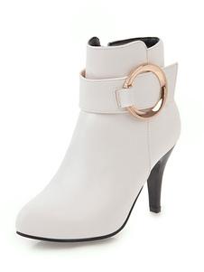 botines mujer blanco  de puntera de forma de almendra Detalles metálicos 8.5cm de PU Primavera Otoño Color liso Cremallera estilo street wear