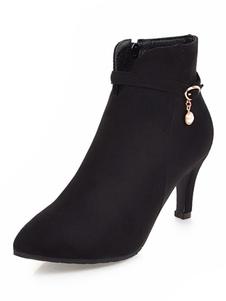 Tornozelo preto botas camurça dedo apontado pérolas botas de salto alto para mulheres