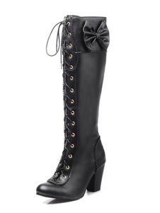 de PU de puntera puntiaguada Botas altas mujer negro  botas altas negras 7cm de tacón gordo con lazo Color liso Otoño Invierno con cinta
