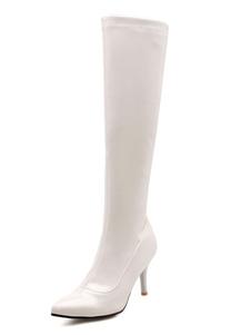 Botas hasta la rodilla Charol PU de puntera puntiaguada blanco  8cm de tacón de stiletto Color liso Otoño Primavera Cremallera