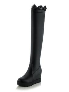 Mulheres sobre as botas de joelho Preto Toe redondo Detalhe Botas de cunha Botas altas da coxa