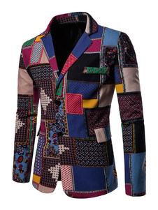 Мужская повседневная одежда Этническая печать Цветной блок Хлопковое полотно Две кнопки Blue Blazer Jacket