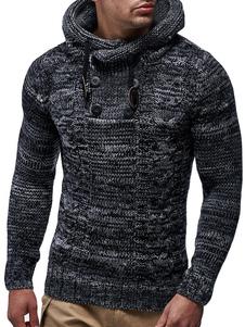 Мужчины Пуловер свитер с капюшоном Кабельный вязать Drawstring Button Глубокий серый Повседневный вязать свитер