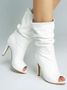 Botas 2020 Tornozelo Branco Botas Mulheres Dedo Do Pé Espiada Botas Sandália De Salto Alto