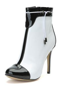 Mulheres Ankle Boots Toe Redondo Branco Zip Up Sapatinho De Salto Alto