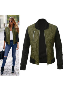 Куртка для женщин Bomber Cotton Filled Zipper Two Tone Quilted Jacket