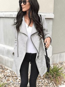 معطف الشتاء النساء معطف طويل الأكمام سستة غير النظامية تريم رمادي