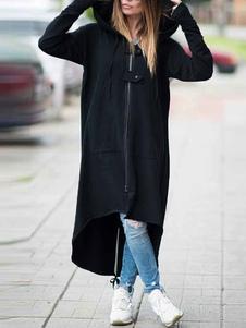 معطف نسائي أسود معطف طويل مقنع معطف مرتفع منخفض من القطن الطبيعي