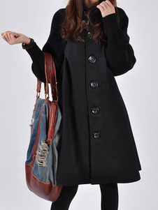 معطف أسود معطف كبير الحجم من الجلد الأسود