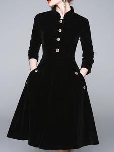 Vestido de veludo preto mulheres botões gola vestido de skater de manga três quartos