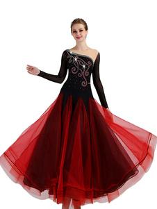 Traje de dança de salão Borgonha Mulheres manga comprida Organza Beading Formação Dança Vestidos