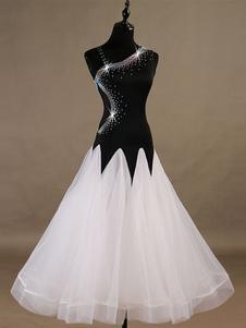 Traje de dança de salão vestidos de mulheres negras sem mangas frisada Organza treinamento desgaste de dança