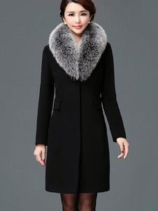 Женщины Зимнее пальто Искусственный меховой воротник Карманы Съемное шерстяное пальто