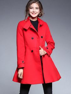 Женщины Red Peacoat Стенд Воротник Шерстяные пальто Кнопки Swing Coat