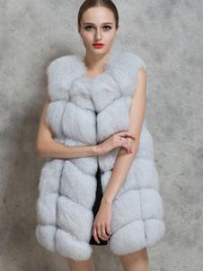 Jaqueta de inverno sem mangas de colete de pele do falso mulheres jaqueta em camadas em camadas
