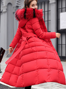 Women Puffer Coat Removable Faux Fur Collar Hooded Coat Longline Winter Coat