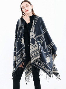 Envoltório mulheres xale oversized fringe geométrica malhas capa de poncho