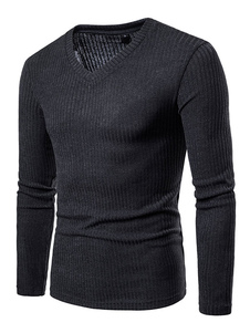 Homens manga longa camiseta com decote em v base top malha padrão slim fit casual camiseta