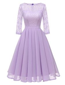 Vestiti Anni 50 monocolore Abiti donna maniche a 3/4 abiti anni 50 Viola  con scollo tondo in chiffon Primavera Autunno di retro'
