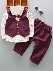 عرس عصابة الزي بنين عرس السراويل بورجوندي قميص صدرية الاطفال ملابس رسمية 3 قطعة