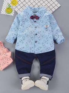 Meninos Roupa Luz Azul Denim Jeans E Camisas 2 Peça Crianças Formais