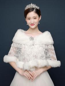 Свадебная обруча Свадебная обложка Ups Кружева Ruffles Faux Fur Shawl