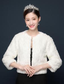 Jaqueta de casamento Faux Fur Wrap Xaile Marfim Inverno Nupcial Capa Ups