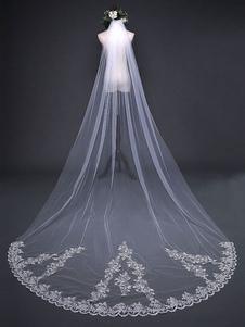 طويل الزفاف الحجاب الشلال الرباط زين Ecru الأبيض من الطبقة الأولى الحجاب كاتدرائية الحجاب الزفاف