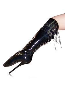 أحذية أحمر مثيرأنثى عام2020 تصميم مشبك التفاصيل الرباط الركبة أحذية عالية أحذية عالية الكعب الباليه