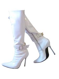 Scarpe Sexy da Donna 2020 Stivali a Punta Rivetti Stivali Alti Al Ginocchio con Dettaglio Fibbia